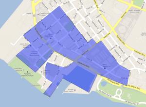 カカアコ地区再開発対象区域(おおよそです)