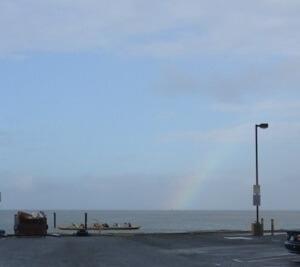 スタート地点で。 雨は降っていたけど虹が奇麗