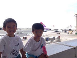 ハワイから帰省:家族は一年半ぶりの日本ですー。ハワイアン航空初搭乗。